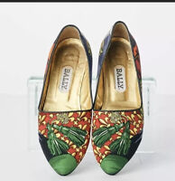 Bally Womens Pointed Toe Green Floral Print Fabric Fashion Flats/ Slip-ons 6.5