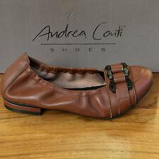 Echt Leder Damen BALLERINA von ANDREA CONTI Slipper Schuhe in Cognac Braun Gr 39