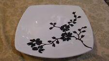 Coventry  Mon Cheri Black Flower Stems on White Square Salad Plate bin 1065