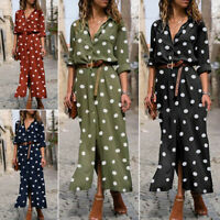 Oversized Womens Long Sleeve Casual Loose Dress Ladies Polka Dot Maxi Dresses