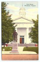 Vintage 1930s Winchester Virginia VA Court House Old Linen Unposted Postcard D21