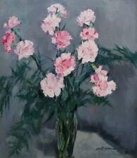 Öl-Gemälde alt antik Impressionismus Romantik Jugendstil Stillleben Blumen 1900