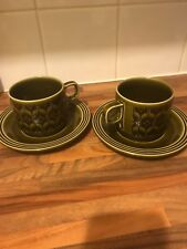 Hornsea green heirloom 2 tea cups and saucers 1970s