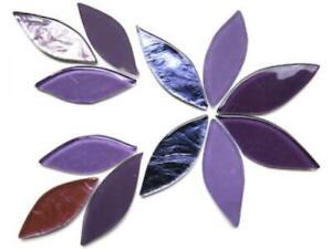 Purple Mix Glass Petals - Mosaic Tile Supplies Art Craft