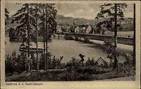 Saalburg an der Saaletalsperre Thüringen s/w Postkarte ~1920/30 Schiff Brücke