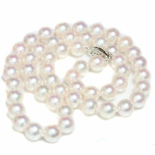 Akoya pearl necklace  8 - 7.5 mm  14k White Gold 18""