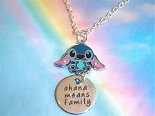 OHANA MEANS FAMILY STITCH NECKLACE IN GIFT BAG LILO AND STITCH QUOTE CHARM