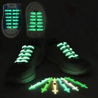 12pcs No Tie Luminous Shoelaces Elastic Silicone Shoe Lace Unisex.UK