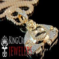Real Rose Gold Sterling Silver Simu Diamond Mens Buddha Pendant Charm Chain Set