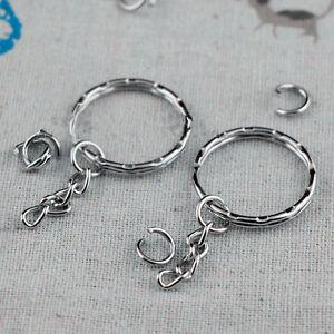 100pcs Silver Keyring Blanks Tone Key chains Key Split Rings 4 Link Chain 55mm