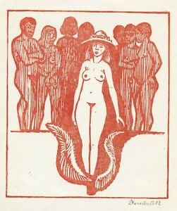Nude, Original Art Print Ex libris Graphic by Stemecke ?
