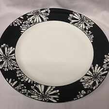 "LENOX KATE SPADE DOGWOOD POINT DINNER PLATE 11 3/8"" WHITE BLACK FLOWERS"