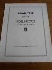 Rolls Royce Silver Cloud Essai Routier brochure