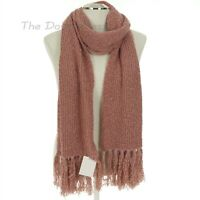 LAUREN CONRAD Women's WITHERED ROSE Pink Oblong WINTER SCARF with LONG FRINGE