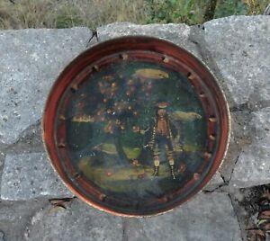 Unusual Antique Tole Tray Toleware Folk Art