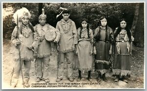 CHEROKEE INDIAN RESERVATION GREEN CORN DANCE ANTIQUE REAL PHOTO POSTCARD RPPC