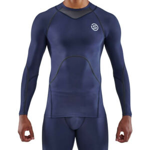 Skins Mens Series 3 Long Sleeve Top Navy Blue Sports Running Gym Breathable