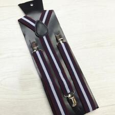 Purple Navy Blue White Braces Suspenders Block Adults 1920s Vintage Formal