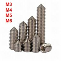 M3 M4 M5 M6 Stainless Steel Cone Point Grub Screws Hex Socket Set Screw Din 914