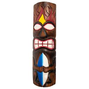 Polynesian Carved Tiki God Mask Surfboard Design, Island Vibe, Pool, Patio, Bar