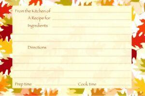 Fall Autumn Falling Leaves Recipe Cards Postcard Postcards - Set of 8