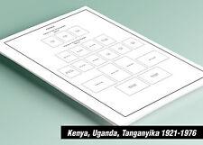 PRINTED KENYA UGANDA TANGANYIKA 1921-1976 STAMP ALBUM PAGES (36 pages)