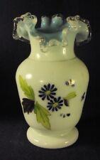 blue white cased glass vase antique bohemian hand enameled floral B3