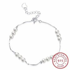 New Genuine 925 Sterling Silver Wome's Lovely Pearl Charm Bracelet Chain Gift