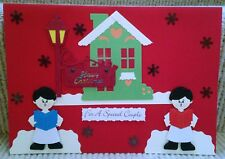 Luxury Handmade Personalised Large A4 CHRISTMAS CARD Carol Singer Special Couple