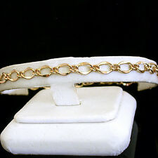 "13"" Ladies 5mm FANCY OPEN CURB Link 14kt Gold EP Anklet ~ 13"" ~ NEW FOOT JEWELRY"