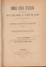 DIRITTO PACIFICI MAZZONI EMIDIO TRATTATO DELLE SERVITÙ LEGALI 1892