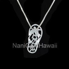 Honu Turtle Slipper Flip Flop Hawaiian Jewelry 925 Sterling Silver Pendant