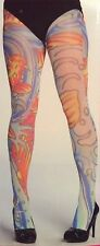 Ed hardy Tattoo Hosiery Fashion Tights Koi San Pattern White Medium M