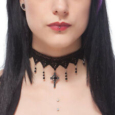 Gothic lace Steampunk choker necklace BLACK ONYX celtic cross Victorian wedding