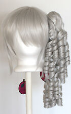 18'' Ringlet Curly Pony Tail + Base Silver Gray Cosplay Lolita Wig NEW