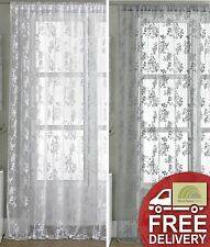 Vintage Style Lace Floral Net Voile Curtain Panel  White Or Pewter