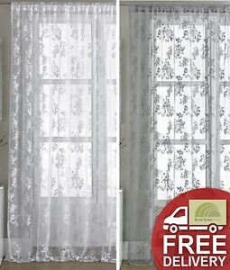 Vintage Style Lace Floral Net Voile Curtain Panel  White Or Pewter Grey