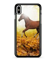 Majestic Lost Leaping Brown Horse Leafy Forest Scenery View 2D Phone Case Cover