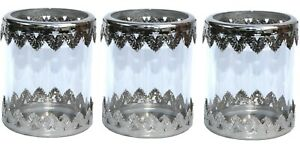 NEXT Set of 3 Glass CANDLE HOLDER Etched Silver Edge LANTERN Table Decoration
