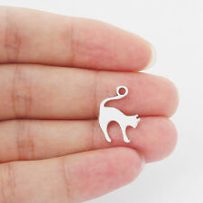 30pcs Antique Silver Alloy Cute Cat Shaped Charms Beads Pendant 14x19mm