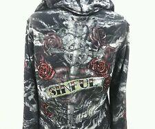 Sinful Womens Hoodie Rockabilly Roses Cross Dagger Rhinestones Black Gray Large