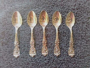 Reed And Barton Sterling Silver Francis l small spoons Lot of 5