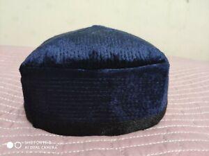 Traditional Uzbek Duppi Cap Hat Skull Cap Kufi Hat Velvet Blue 56 cm