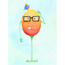 Wee Wild Monsters Theo Glasses Bird Kids Wall Art Canvas Print 18X24 In