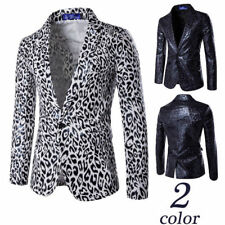 Occident Men's Casual Slim Fit Leopard Printed One Button Blazers Jacket Coat A9