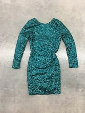 NWT Divided H&M Emerald Green Party Club Sequin Mini Dress Long Sleeve Backless