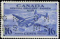 1942-47 Mint H Canada F-VF Scott #OCE1 16c Perforated Air Mail Special D Stamp