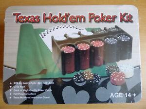 TEXAS HOLD'EM POKER KIT 200 4G CHIPS, CHIP RACK, CARDS, FELT BRAND NEW IN BOX