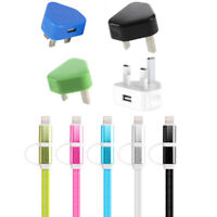 2in1 Micro & Lightning Mains Plug USB Charger Data Cable For i Phone Samsung