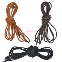 (60/80/100/120cm) Round Shoe Laces Waxed Bootlace Leather Oxford Brogues Strings